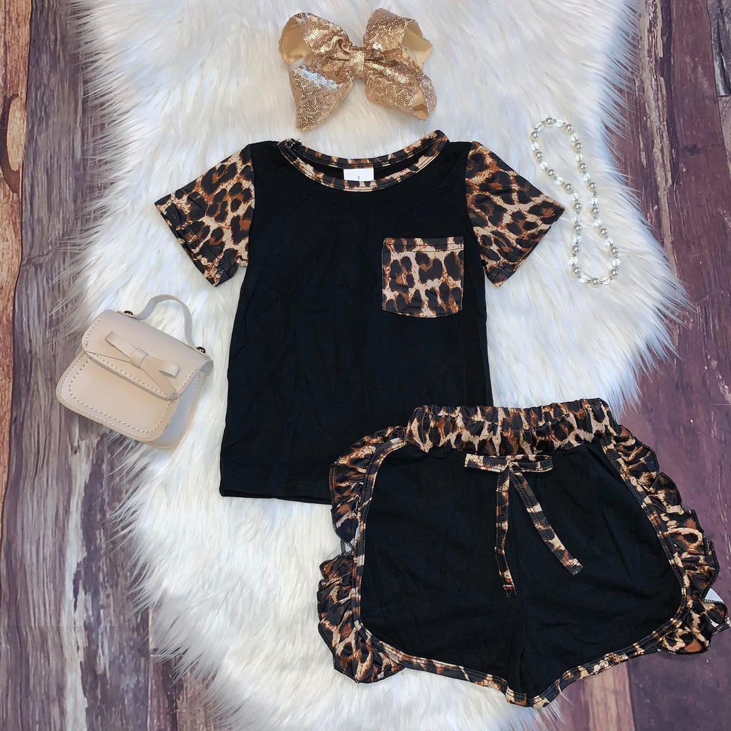 Black and Leopard Print Tee with Ruffle Shorts