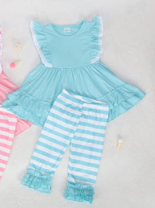 Blue Cotton Ruffle Tunic Set