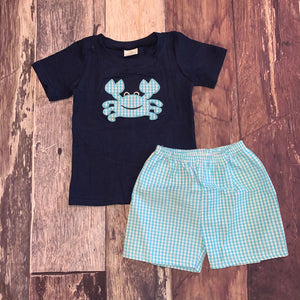 Blue Seersucker Embroidered Crab Tee and Shorts
