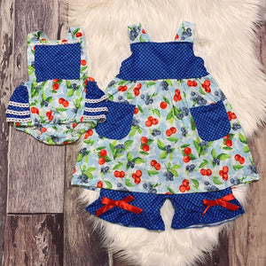 Blueberry Cherry Ruffle Bubble with Fixed Straps