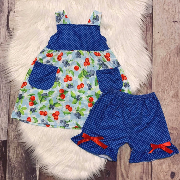 Blueberry Cherry Tunic & Shorts Set with Adjustable Straps