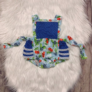 Blueberry Cherry Ruffle Bubble with Adjustable Straps