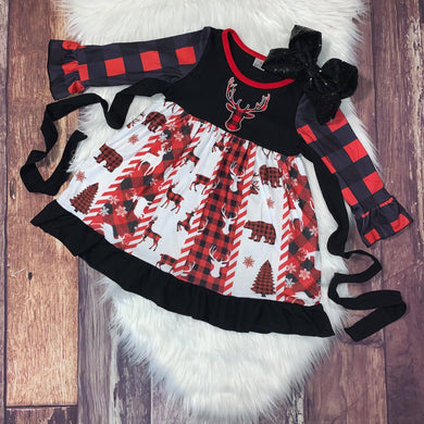 Buffalo Plaid Bear and Embroidered Deer Dress