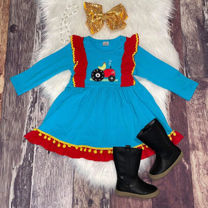 Embroidered Tractor Red and Blue Dress
