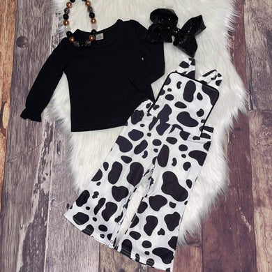 Animal Print Pant Romper-Cow