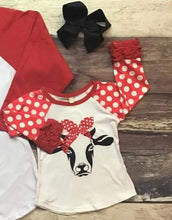 Load image into Gallery viewer, Mommy & Me Polka Dot Cow Raglans