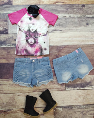 Light Denim Criss Cross Shorts
