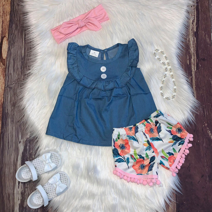 Chambray Button Tunic and Floral Print Shorts