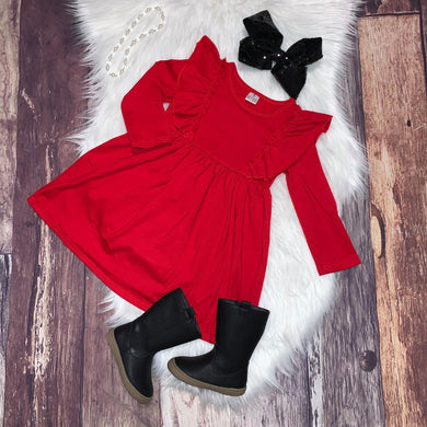 Christmas Red Ruffle Dress