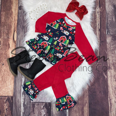 Christmas on the Farm Printed Raglan Tunic Set