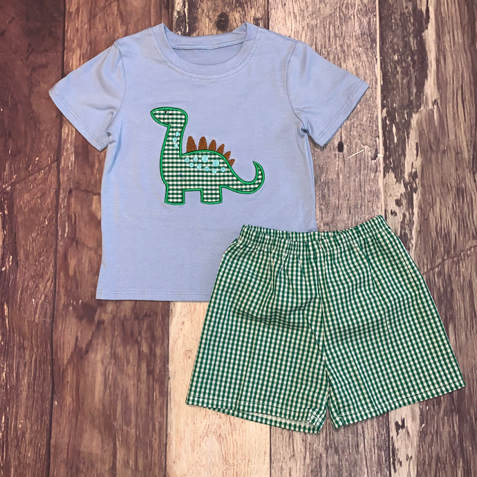 Dinosaur Embroidered Applique Boy's Short Set
