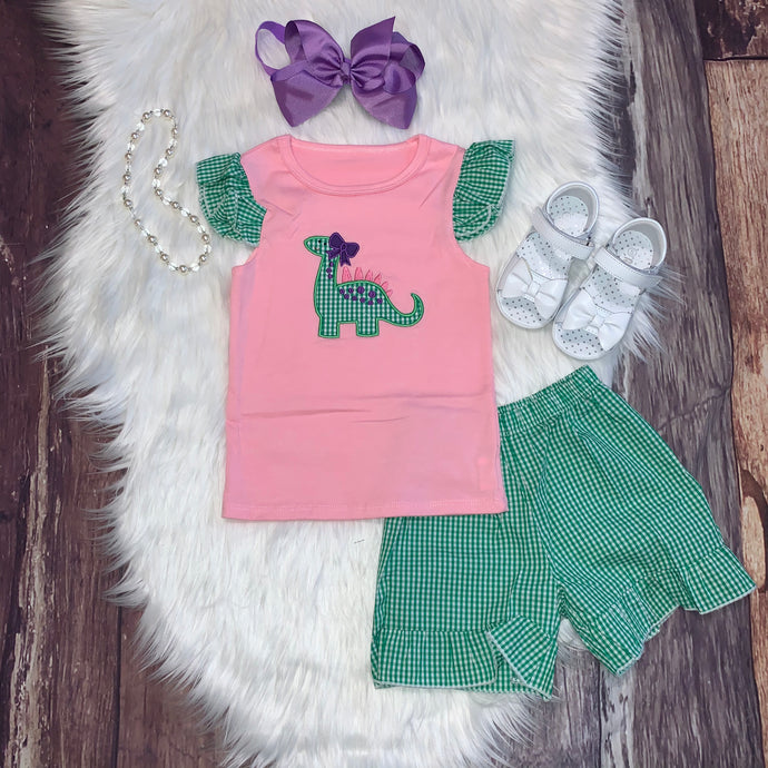 Dinosaur Embroidered Applique Girl's Short Set
