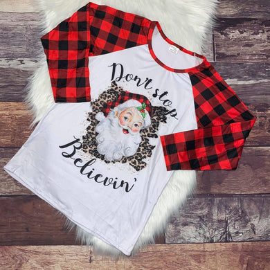 Don't Stop Believin' Buffalo Plaid & Leopard Mommy Raglan