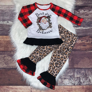 ** BACK IN STOCK ** Don't Stop Believin' Buffalo Plaid & Leopard Tunic Set