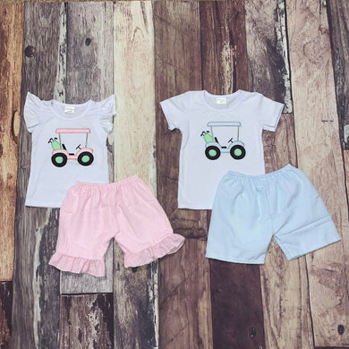 Embroidered Golf Carts Brother & Sister Matching Shorts Sets