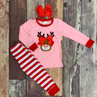 Embroidered Reindeer Christmas Sibling Pajamas - Pink