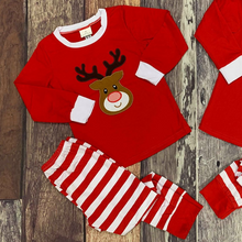 Load image into Gallery viewer, Embroidered Reindeer Christmas Sibling Pajamas - Red