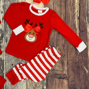 Embroidered Reindeer Christmas Sibling Pajamas - Red