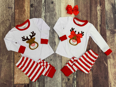 Embroidered Reindeer Christmas Sibling Pajamas - White