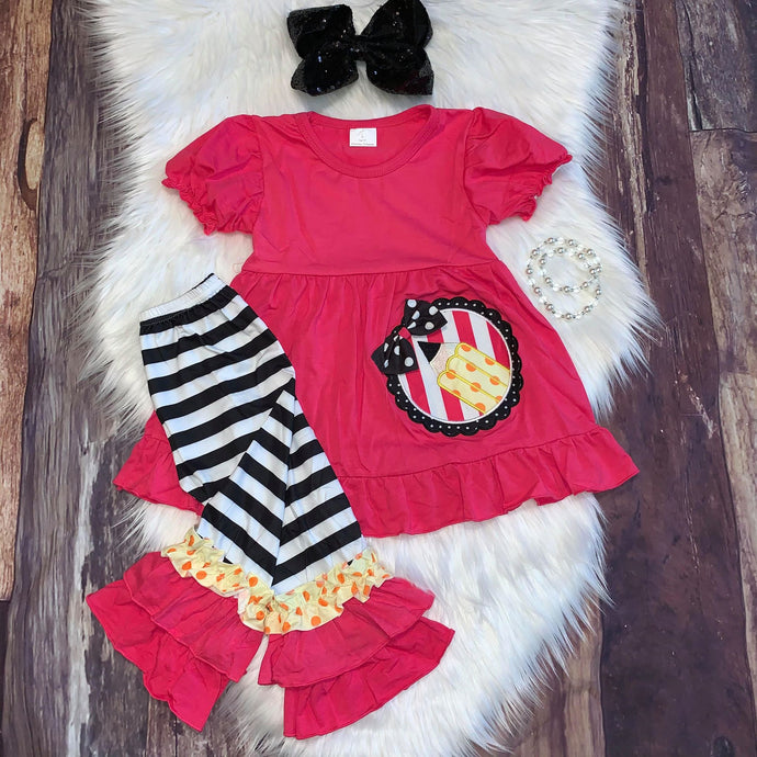 Embroidered School Pencil Ruffle Capris Set