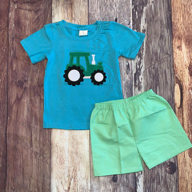 Embroidered Tractor Blue Tee and Shorts Set
