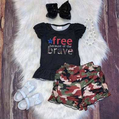 Free Because of the Brave Tee and Camo Ruffle Shorts