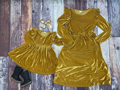 Mommy & Me Velvet Flutter Sleeve Dresses - Gold