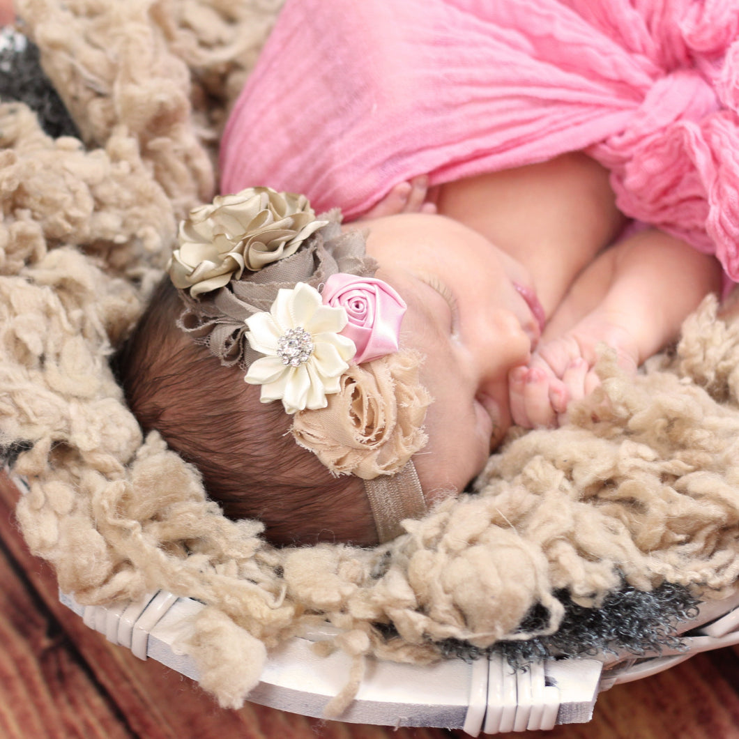 Beige and Ivory Floral Headband