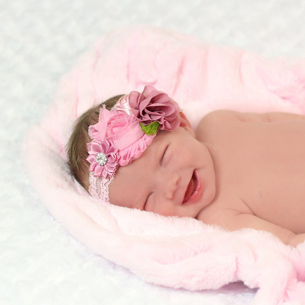 Pink and Mauve Floral & Lace Headband