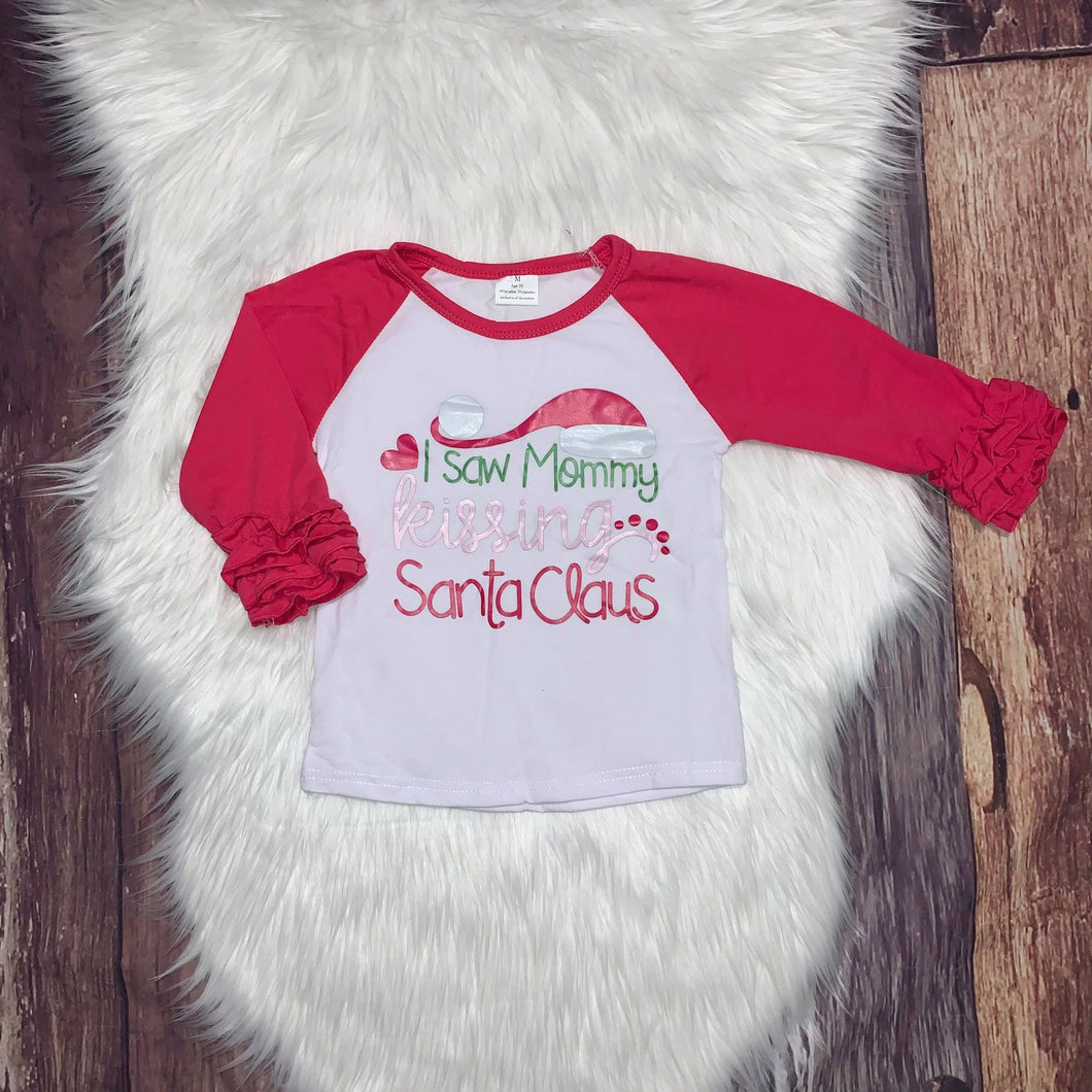 Icing Sleeve Ruffle Raglan - I Saw Mommy Kissing Santa Claus