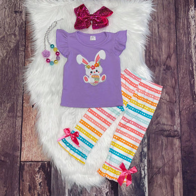 Lavender Embroidered Easter Bunny Tee with Stripe Pant