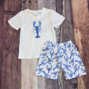 Blue and White Lobster Printed Boy's Short Set