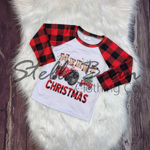 Merry Christmas Tractor Buffalo Plaid Raglan