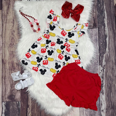 Mickey Mouse Ruffle Peplum and Red Shorts