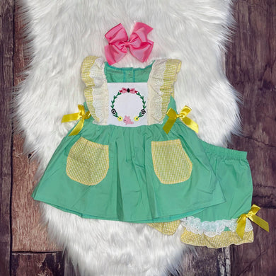 Mint and Yellow Easter Wreath Embroidered Short Set