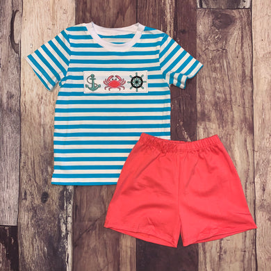 Nautical Embroidery Turquoise and Coral Boy's Set