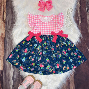 Navy Floral and Pink Check Dress