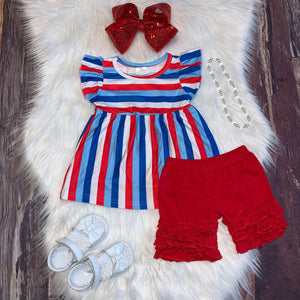 Patriotic Stripes Tunic and Icing Shorts