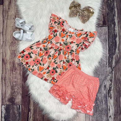 Peach Polka Dot and Floral Short Set