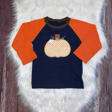 Embroidered Pumpkin Button Raglan