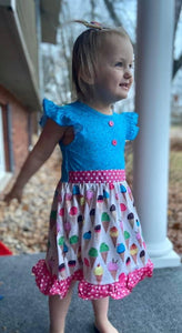 Ice Cream Sprinkles Ruffle Dress