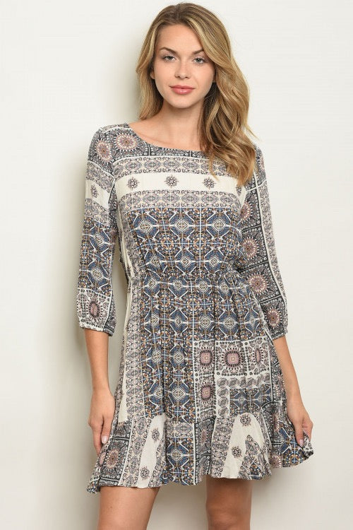 Open Back Neutral Paisley Dress