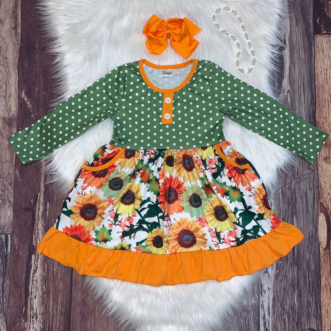 Green Long Sleeve Fall Floral Dress