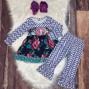 Purple Floral Long Sleeve & Pants Set