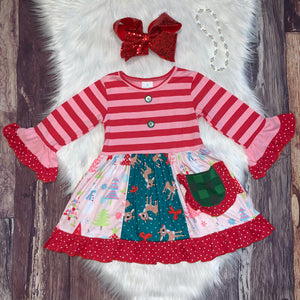 Red & Pink Striped Christmas Panel Dress