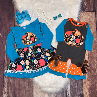 Blue Embroidered Pumpkin Collection Girl Romper
