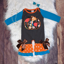 Load image into Gallery viewer, Blue Embroidered Pumpkin Collection Girl Romper