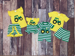 Yellow & Green Stripe Embroidered Tractor Boy's Romper