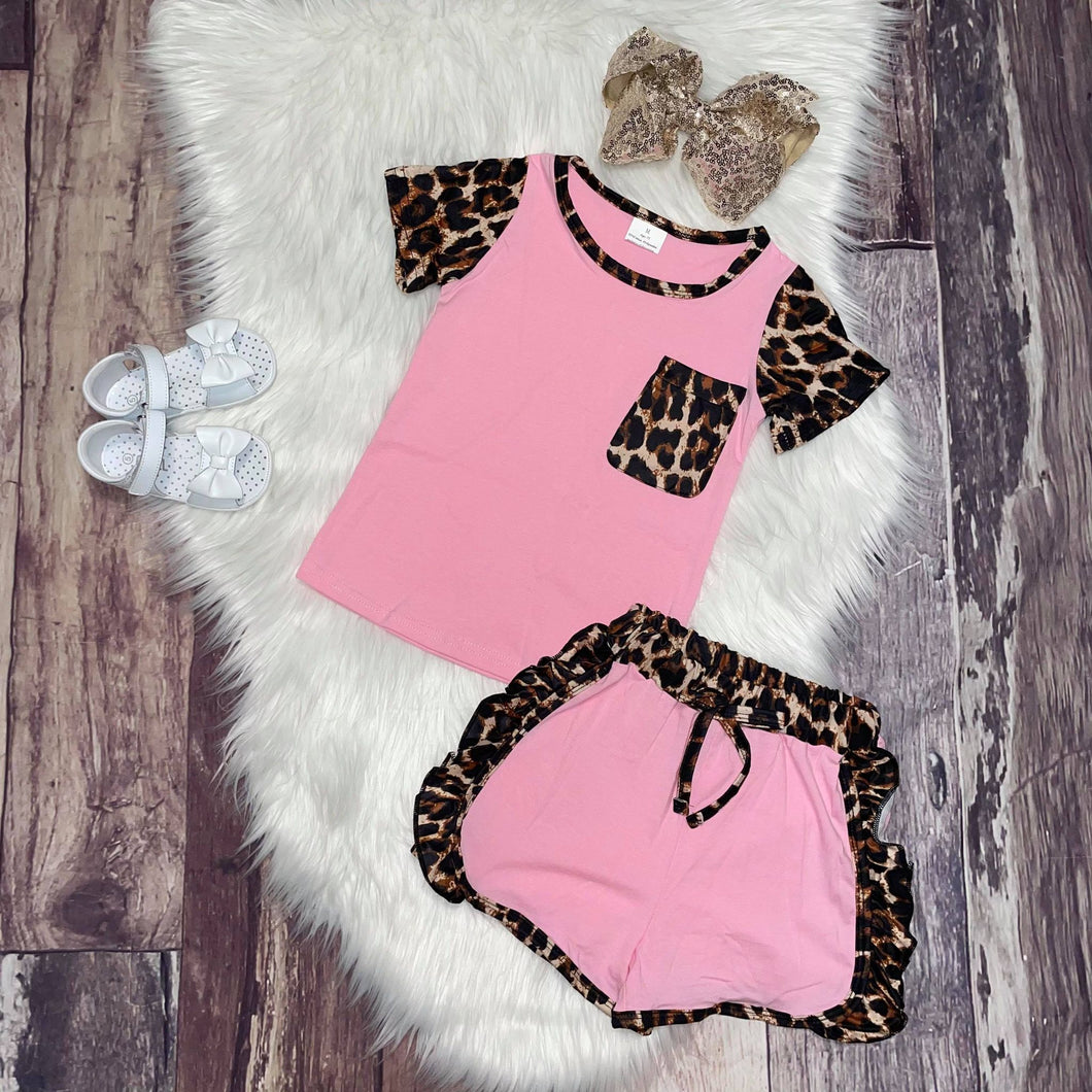 Pink & Leopard Print Tee with Ruffle Shorts