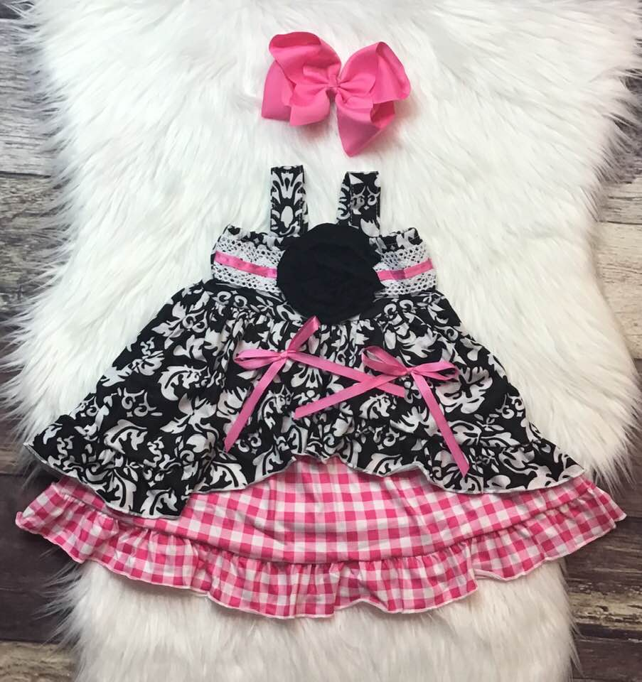 Pink Checkered Bow Dress